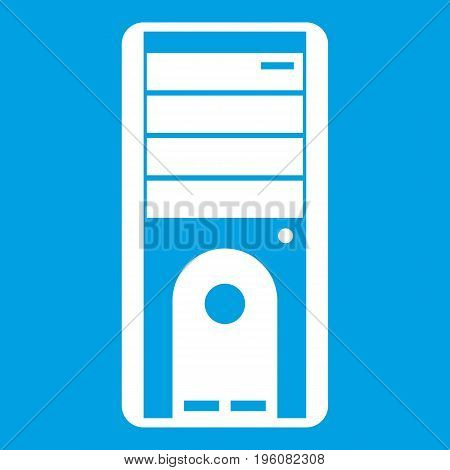 Computer system unit icon white isolated on blue background vector illustration