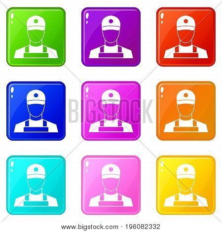 A man in a cap and uniform icons of 9 color set isolated vector illustration