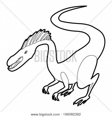 Hungry dinosaur icon in outline style isolated on white vector illustration