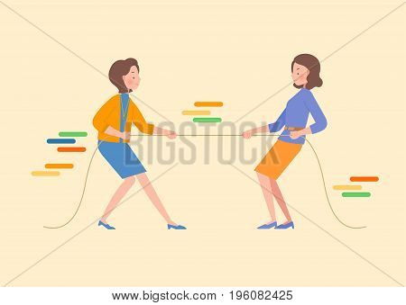 Two women are pulling rope. Lifestyle concept illustration.