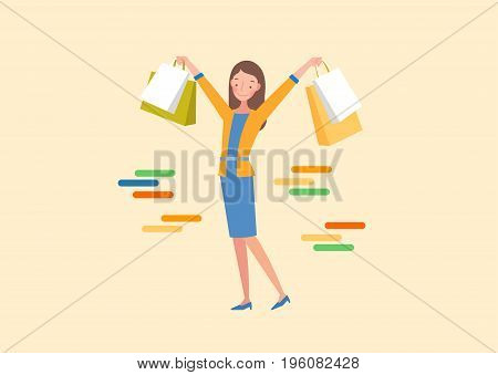 The woman is holding a shopping bag. Lifestyle concept illustration.