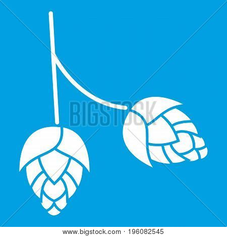 Branch of hops icon white isolated on blue background vector illustration