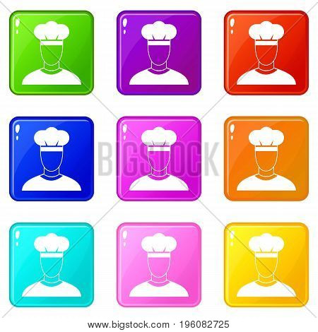 Cook icons of 9 color set isolated vector illustration