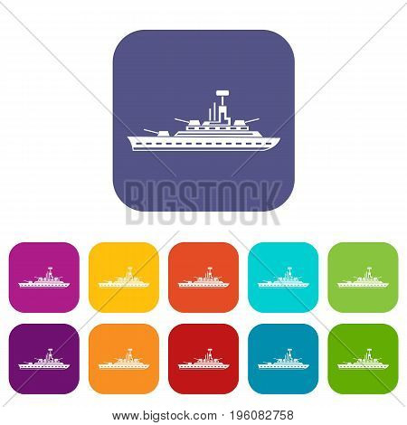 Military warship icons set vector illustration in flat style in colors red, blue, green, and other