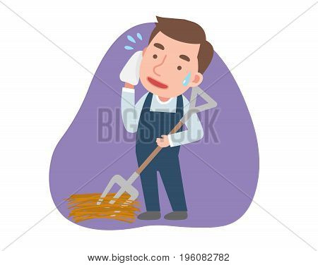 The farmer is washing the sweat. vector illustration.