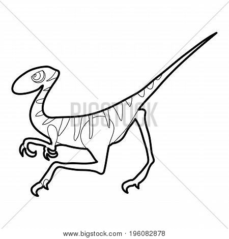 Velociraptor icon in outline style isolated on white vector illustration