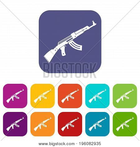 Submachine gun icons set vector illustration in flat style in colors red, blue, green, and other