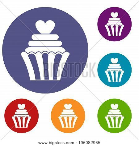 Love cupcake icons set in flat circle red, blue and green color for web