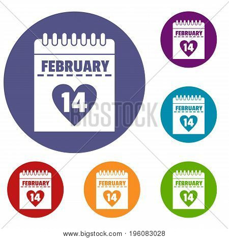 Valentines day calendar icons set in flat circle red, blue and green color for web