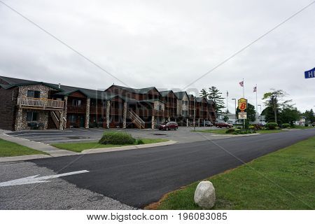 MACKINAW CITY, MICHIGAN / UNITED STATES - JUNE 18, 2017: The Super 8 Motel offers free breakfast, plus an indoor pool and spa, to lodgers in Mackinaw City.