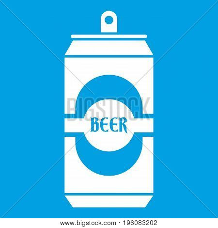 Aluminum can icon white isolated on blue background vector illustration