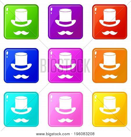 Magic black hat and mustache icons of 9 color set isolated vector illustration