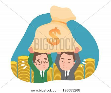 Two men holding money and a lot of money.