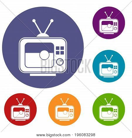 Soccer match on TV icons set in flat circle red, blue and green color for web