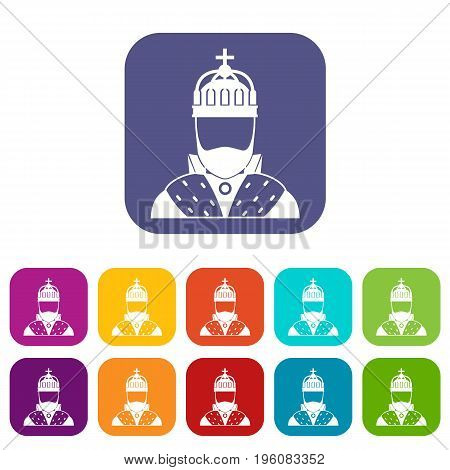 King icons set vector illustration in flat style in colors red, blue, green, and other
