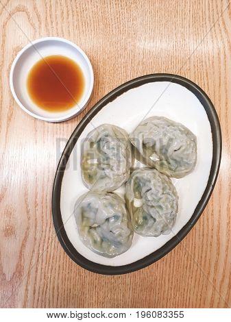 Top view of Korean dumplings Mandoo