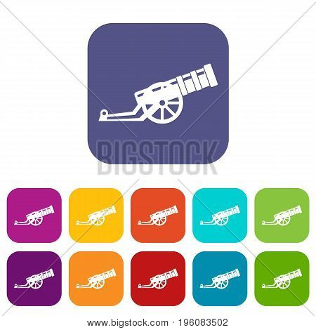 Cannon icons set vector illustration in flat style in colors red, blue, green, and other