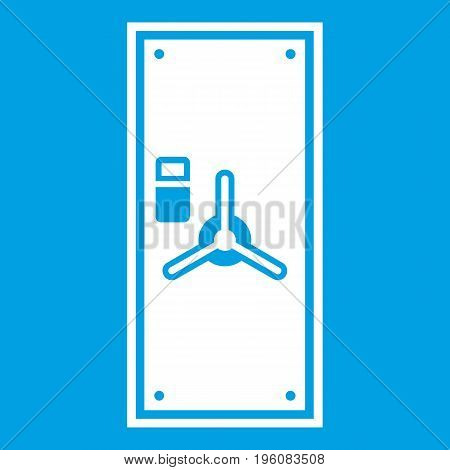 Safe door icon white isolated on blue background vector illustration
