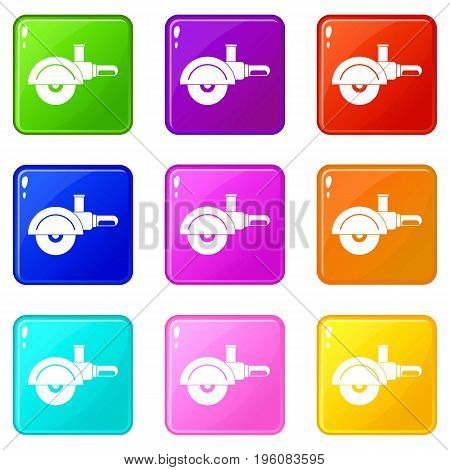 High speed cut off machine icons of 9 color set isolated vector illustration