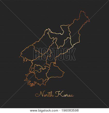 North Korea Region Map: Golden Gradient Outline On Dark Background. Detailed Map Of North Korea Regi