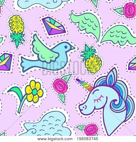 Seamless bright pattern with unicorn, bird, wings, cloud, pineapple, crystal, yellow flower. Vector.