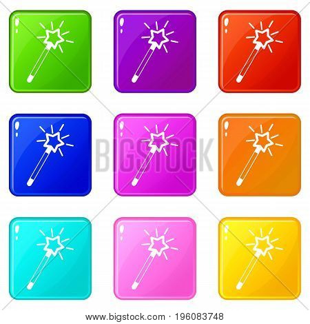Magic wand icons of 9 color set isolated vector illustration