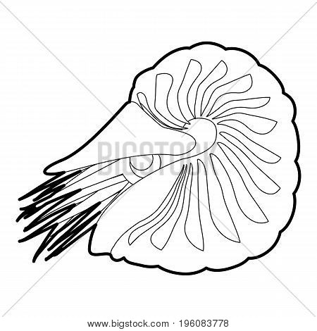 Clam icon in outline style isolated on white vector illustration