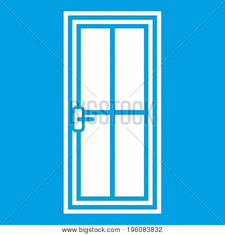 Glass door icon white isolated on blue background vector illustration