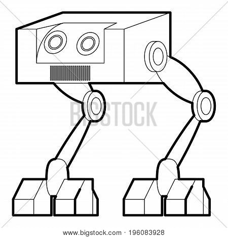 Robot ostrich icon in outline style isolated on white vector illustration