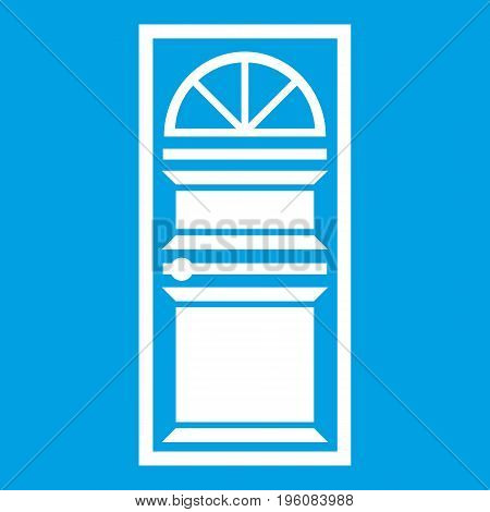 Door with an arched glass icon white isolated on blue background vector illustration