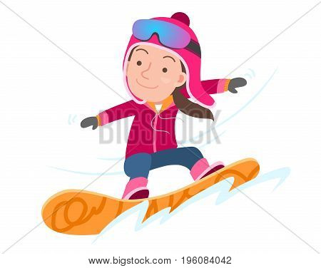 Funny snowboarder. Vector cartoon isolated character. vector illustration.