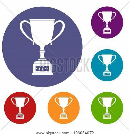 Winner cup icons set in flat circle red, blue and green color for web