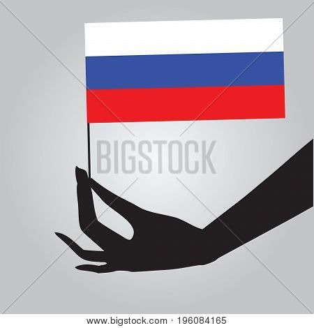 Flag of Russia in a female hand. Vector illustration.