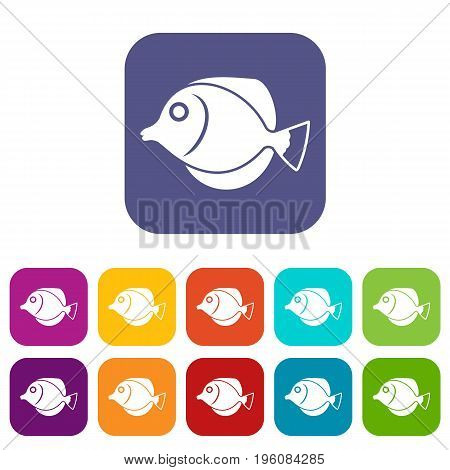 Tang fish, Zebrasoma flavescens icons set vector illustration in flat style in colors red, blue, green, and other