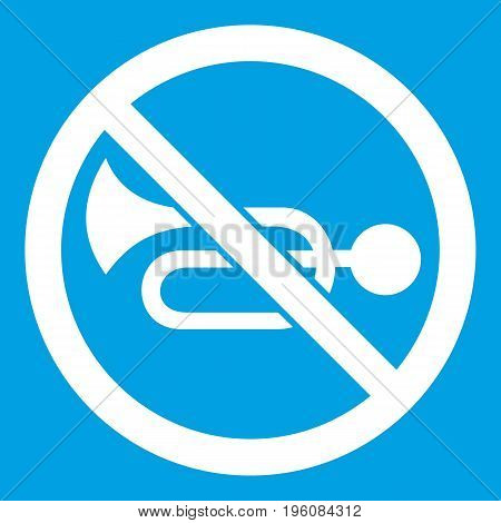 No horn traffic sign icon white isolated on blue background vector illustration