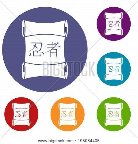 Japanese traditional scroll icons set in flat circle red, blue and green color for web