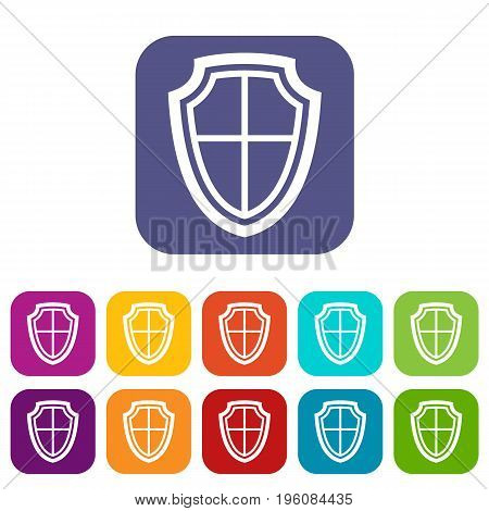 Shield icons set vector illustration in flat style in colors red, blue, green, and other