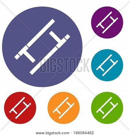 Tonfa icons set in flat circle red, blue and green color for web