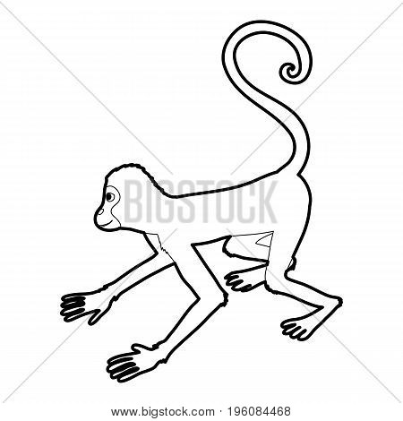 Playful monkey icon in outline style isolated on white vector illustration
