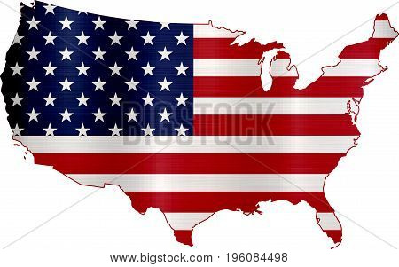 flag map the united states country  shape