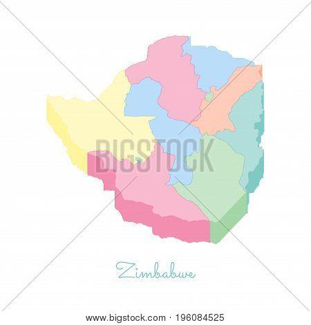 Zimbabwe Region Map: Colorful Isometric Top View. Detailed Map Of Zimbabwe Regions. Vector Illustrat