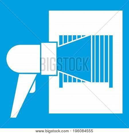 Bar code on cargo icon white isolated on blue background vector illustration