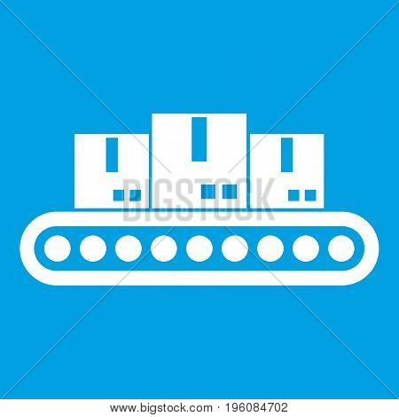 Belt conveyor with load icon white isolated on blue background vector illustration