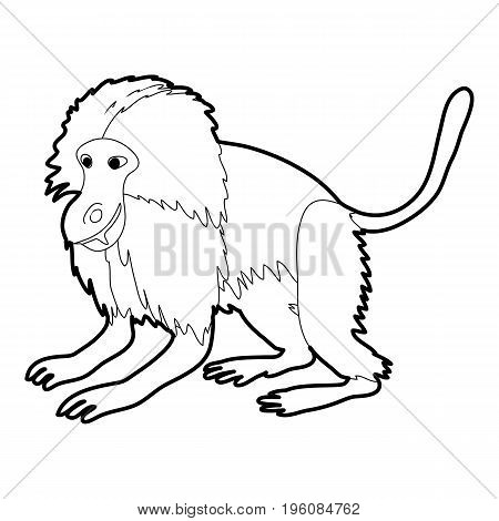 Gelada monkey icon in outline style isolated on white vector illustration