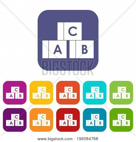 Alphabet cubes with letters A, B, C icons set vector illustration in flat style in colors red, blue, green, and other