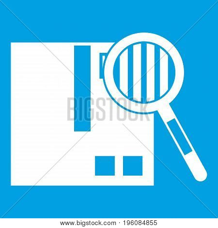 Quality control icon white isolated on blue background vector illustration