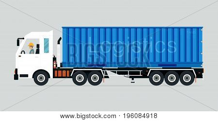 Container truck with driver has a gray background.