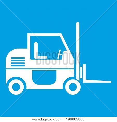 Forklift icon white isolated on blue background vector illustration