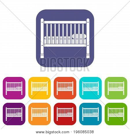 Baby bed icons set vector illustration in flat style in colors red, blue, green, and other