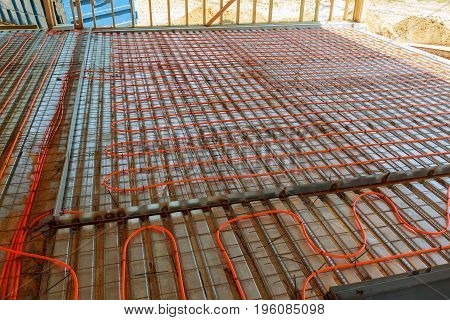 Modern Manual Laying Of Tuning Water Hydronic Gas Firing Conduit Supply On Metal Mesh Insulation Ind